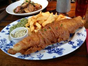 Local Ale Battered Haddock served with chips, homemade tartare sauce and minted 'not so mushy &#039 peas;
