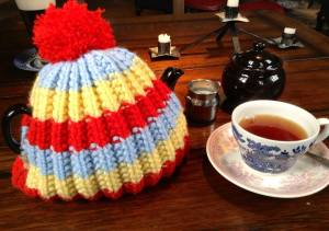 Yorkshire tea, served in a 'Brown Betty' teapot with knitted hat cosy