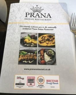 Prana Indian Restaurant Cambridge Mill Road menu