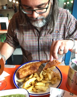 Eric's Fish & Chips St Ives Cambridgeshire eating fish & chips