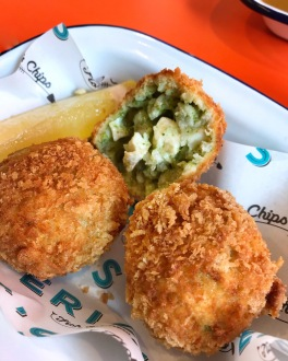 Eric's Fish & Chips St Ives Cambridgeshire halloumi & spinach arancini