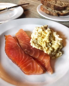 The Gunton Arms Norfolk smoked salmon scrambled eggs