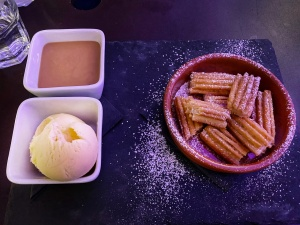 La Raza Cambridge churros ice cream toffee dipping sauce