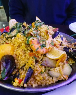 La Raza Cambridge meat and seafood paella