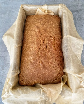 Orange Rosemary Drizzle Loaf out of the oven