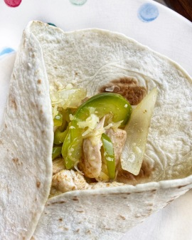 Chicken fajitas in wrap