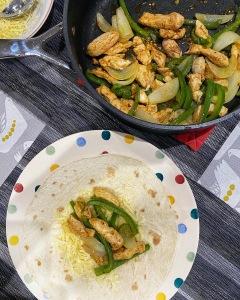 Chicken fajitas table