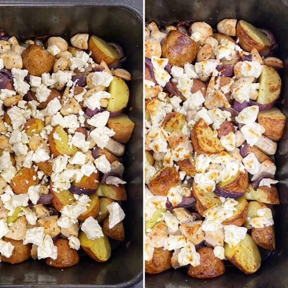 Collage two-Pan chicken with potatoes and feta