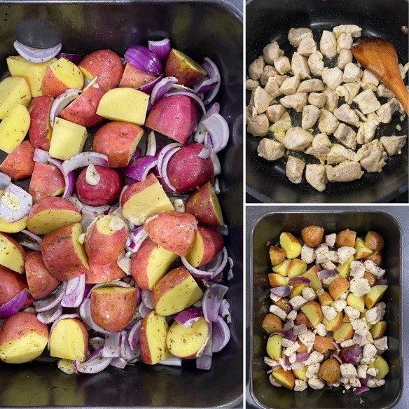 Collage two-pan chicken, red potatoes, red onions