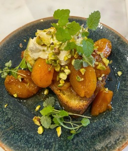 The Wine Rooms Cambridge lemon and pistachio cake with apricots